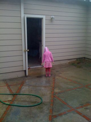 Madi in the rain